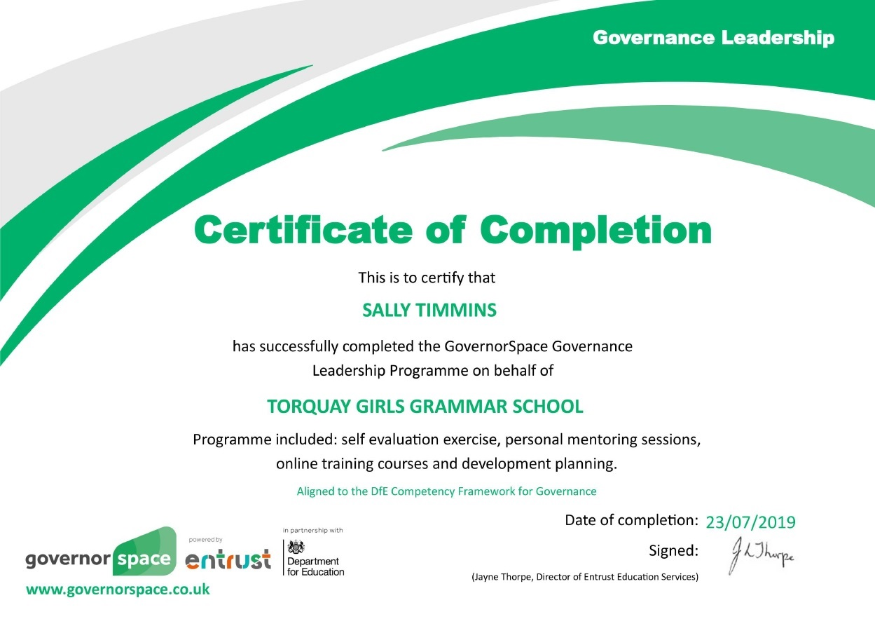 Sally Timmins Certificate