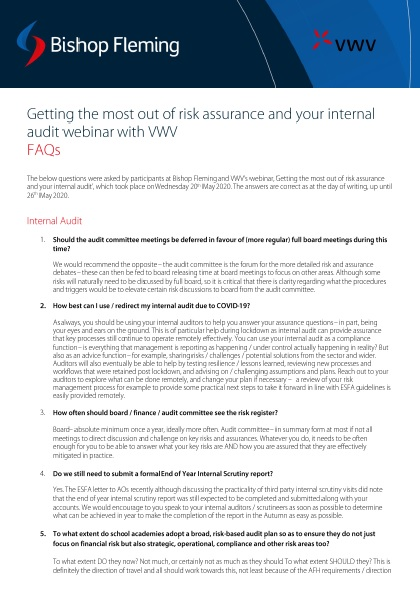 Webinar: Getting The Most Out Of Risk Assurance And Your Internal Audit FAQs